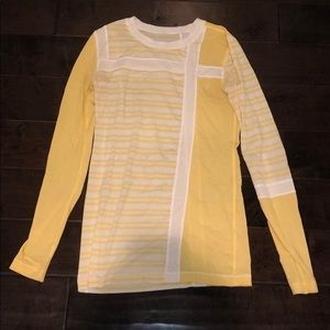 Lululemon stripped yellow shirt